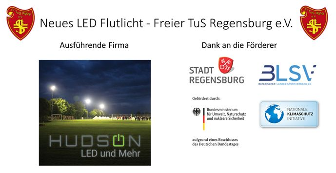 Erneuerung Flutlicht durch Umrüstung auf energiesparende LED-Technik